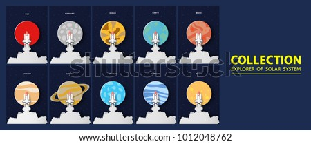 Royalty free solar system in space for kids set 180415412 stock concept paper art set collection survey rocket solar system star galaxy minimalism have rocketsun ccuart Gallery