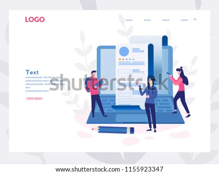 Concept people fill out a form, application form for employment. people select a resume for a job for web page, presentation, social media, documents. Vector illustration employee writes a summary - Shutterstock ID 1155923347