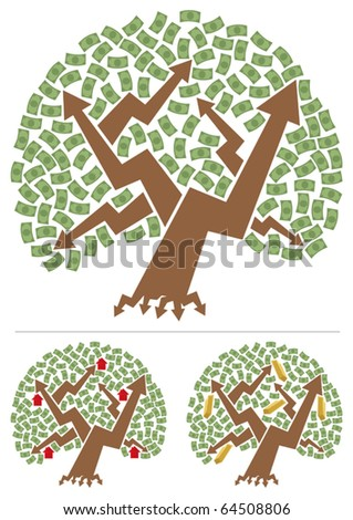 Concept picture of investment portfolio depicted as money tree. Below are 2 different versions, for real estate and for gold investing.