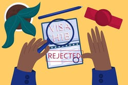 Concept rejected working American visa, top view. Employee's hands approved American visa. Table at the embassy. Vector illustration in a flat style.