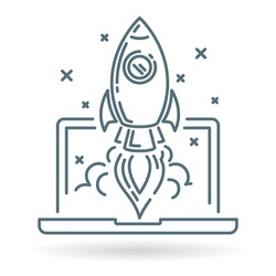 Concept rocket launch from laptop icon. Space rocket flying from notebook into space. Conceptual business startup symbol. Thin line icon on white background. Vector illustration.