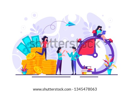 Concept save time, Money saving.  Business and management, time is money, financial investments in stock market future income growth, Time management planning, Deadline.