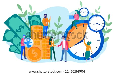 Concept save time, Money saving. Times is money. Business and management,  Piggybank, time is money, financial investments in stock market future income growth, Time management planning, Deadline.