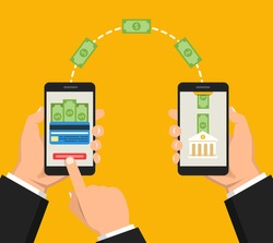 Concept sending and receiving money over mobile phones. Hands holding smartphones with banking payment apps. Vector flat illustration.