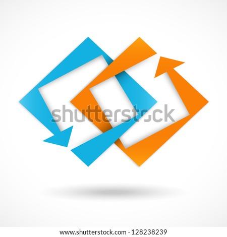 Concept sign, abstract square shapes, arrows, can be used as logotype