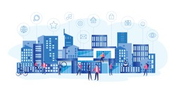 Concept Smart city for web page, banner, presentation, social media. Intelligent building isometric vector, Smart building, building on smartphone, 3d, system of intelligent, Big Data, Analytics