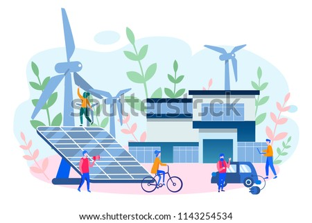 Concept smart house, clean electric energy from renewable sources sun and wind. Vector illustration wind turbines, alternative renewable energy. solar energy, eco, electro car, mobile app, save planet