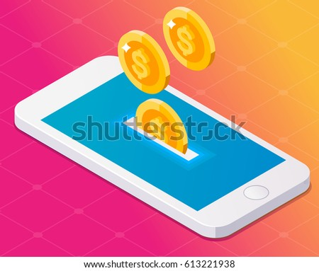 Concept smartphone and money coins. Isometric style.