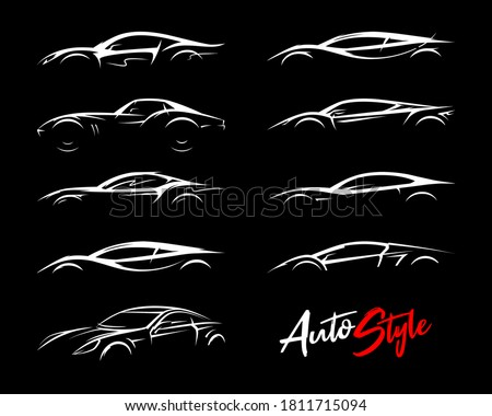 Concept sports car silhouettes set. Performance motor vehicle logo icons. Supercars sign. Auto style dealer transport profile vector illustrations.