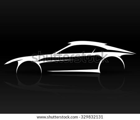 Concept Sports Car Vehicle Outlines Graphic Ez Canvas