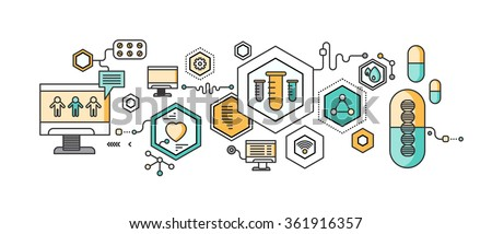 Concept study of human medicine. Medical health, science and care, pharmacy and healthcare, laboratory and pharmaceutical, therapy and dna, capsule and pharmacology, pulse. Set of thin, lines icons