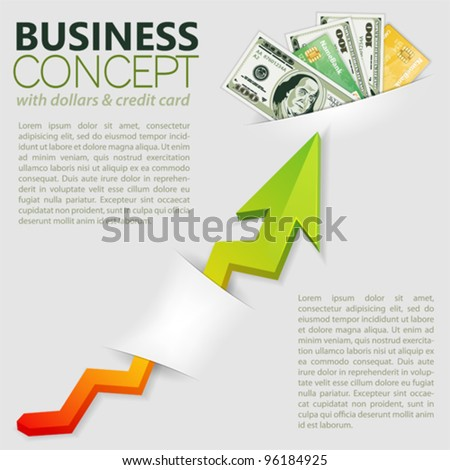 Concept Success in Business with Pack of Dollars and Graph, template for design