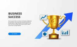 Concept successful business growth with graph and 3d golden realistic trophy for banner presentation.