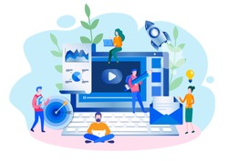 Concept teamwork, promotion of business online for web page, documents, cards, posters. Vector illustration thinking over an idea, building a business on the internet. business project start up.
