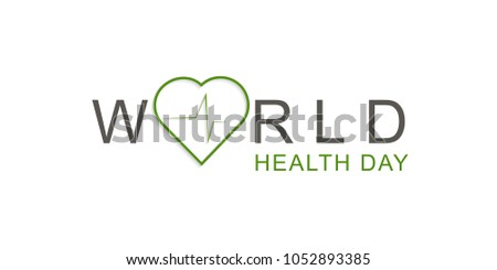 Concept Text Design with heart and  cardiogram.Vector World Health Day.Medical care. Template for poster, banner, advertisement, clear form, creative card.Medicine idea