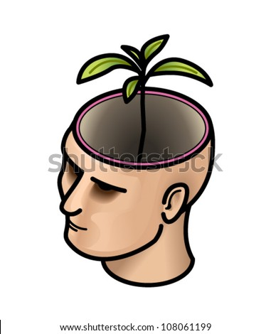 Concept: think green. Head with a seedling/sapling growing out of it.
