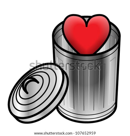 Concept: throwaway emotions/love. A heart in a trash can.