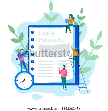 Concept User manual for web page, banner, social media. Vector illustration discussing a content of the guide book, Requirements specifications document. People are reading book instructions.