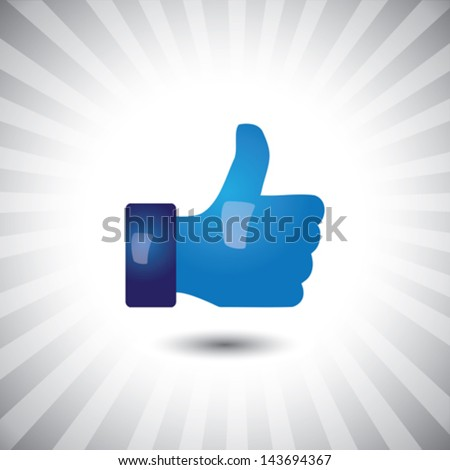 Concept vector- glossy, stylish social media like hand icon(Symbol). The illustration shows a shiny like sign or icon used in social media websites like facebook, etc