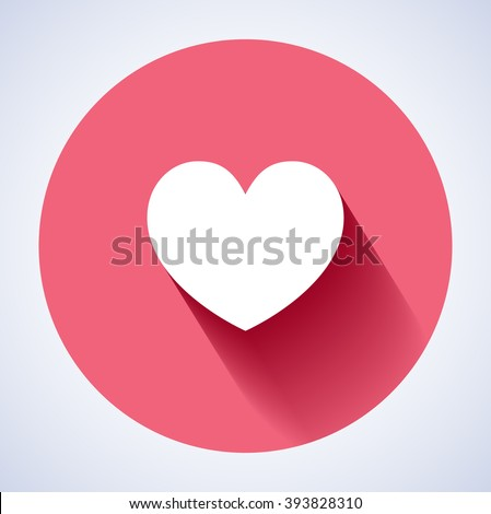Concept vector - glossy, stylish social media love icon (Symbol). The illustration shows a shiny like sign or icon used in social media websites. Icon with shadow. New love icon