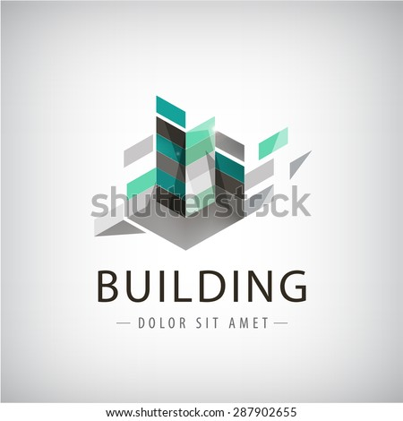 Concept vector graphic - Colorful buildings of urban skyline. The logo template shows modern buildings in abstract way. Building logo, structure, architecture