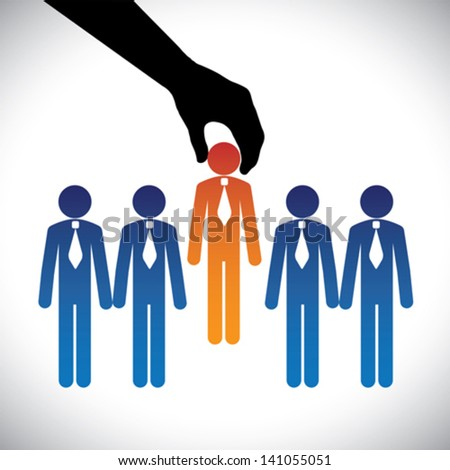 Concept vector graphic- hiring ( selecting ) the best job candidate. The graphic shows company making a choice of person with right skills for the job among many candidates competing for the same post - stock vector
