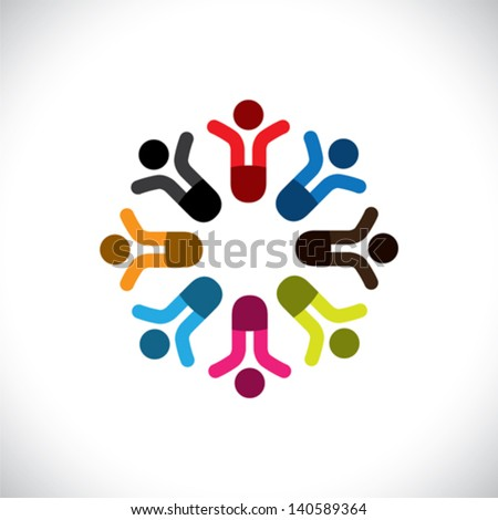 Concept vector graphic- social media communication & people icons. This illustration can also represent people meeting, teamwork, network, employee unity & diversity, worker groups, etc