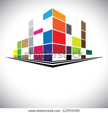 Concept vector icon - Colorful buildings of urban skyline with skyscrapers,tall towers and streets in colors like red,orange,blue & yellow. The logo template shows modern buildings in abstract way.