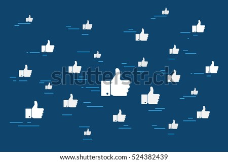 Concept vector illustration of cloud of flying like thumbs up social media symbols. Flat icon design for social networking, webpage banner and blogging on blue background