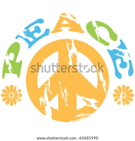Concept vector illustration showing a peace sign with the word peace and flowers around it