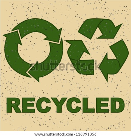Concept vector illustration showing two recycling signs on a recycled paper texture