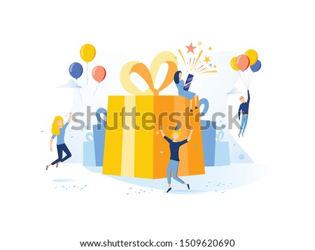 Concept vector illustration with birthday celebrations theme. Birthday party celebration with friends. People blow their whistles, dance and celebrate the holiday around a big, beautiful, bright gift.