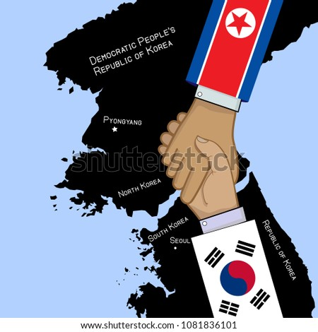 concept vector image of South And North Korea truce with shaking hands and countries maps