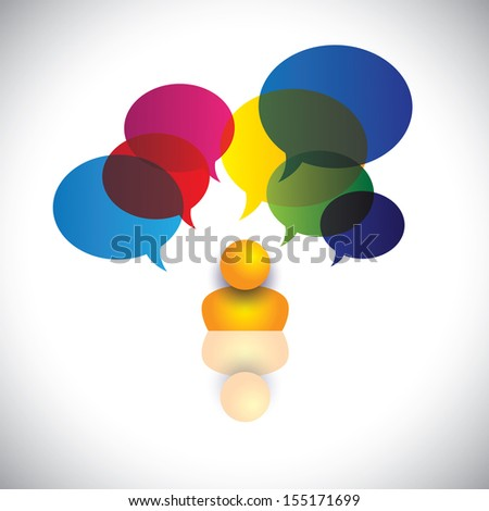 concept vector of a man with puzzles, questions, doubts or ideas. The graphic also represents a person icon with talk signs indicating imagination, ideas, opinions, dreams, thoughts, etc