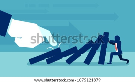 Concept vector of hand pulling domino against man trying to stop falling and preventing conflict.
