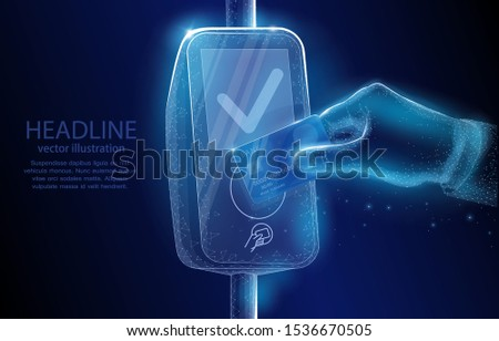Concept vector polygonal 3D illustration. hand with a bank card and payment terminal on dark blue background. symbol of digitalization, banking systems, internet, technology.