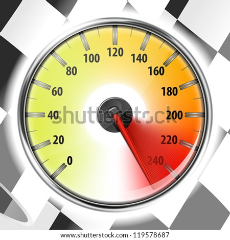 Concept - Winner, Champion. Detailed Car Speedometer with Maximum Speed and Flag, vector illustration