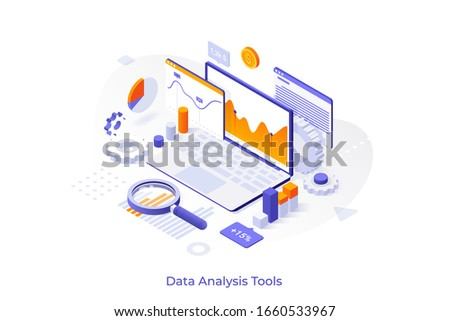 Concept with laptop computer, charts diagrams, graphs and place for text. Tools for data analysis, statistical or financial analytics. Creative isometric vector illustration for advertisement.