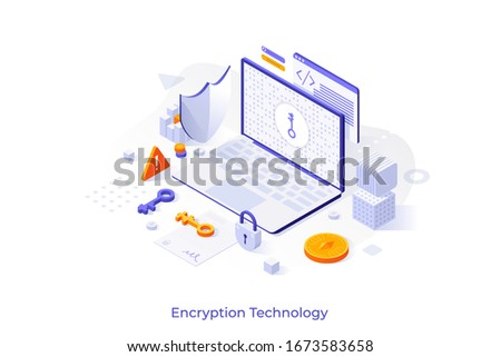 Concept with laptop computer, cryptographic protocol, shield, lock and key. Encryption technology, secure data transmission, protection of information. Modern isometric vector illustration. Stock foto ©