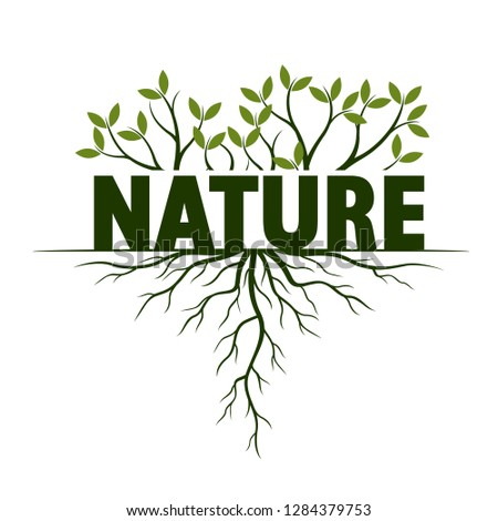 Concept with Leaves and Roots. Vector Illustration. Nature, text and idea. Plant and Garden.
