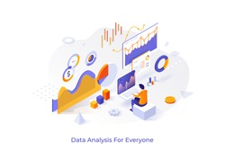Concept with man or analyst working on laptop and analyzing statistical or financial information. Big data or stock market analysis for everyone. Isometric vector illustration for web banner.