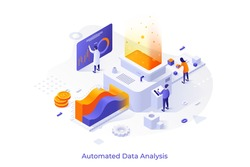 Concept with people or analysts working on conveyor and place for text. Automated data analysis, financial forecast, market research. Modern isometric vector illustration for website, webpage.