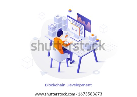 Concept with programmer or coder sitting at desk and working on computer. Blockchain and cryptocurrency mining software development. Modern isometric vector illustration for web banner.