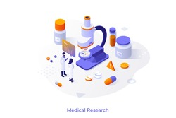 Concept with researchers in lab coats, microscope, pills, test tubes. Medical research, scientific laboratory experiment, chemical analysis. Isometric design template. Vector illustration.
