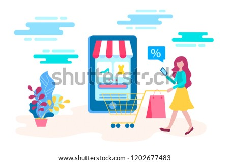 Concept young girl buys goods at a discount in the online store using a mobile application. Vector illustration for web design, presentations, advertising posters and blogging.
