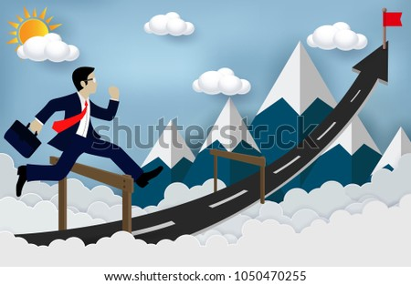 Concepts Business executives can jumping over obstacles on the road, be successful business arrows, and overcome problems or obstacles. Cartoon, illustration of sky with cloud and mountain. paper art
