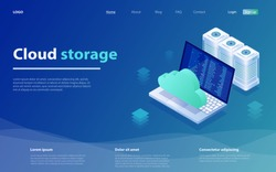 Concepts Cloud storage. Cloud computing or storage isometric vector illustration. Online Computing Storage 3D isometry concept. Online computing technology. Cloud data storage 3d isometric