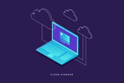 Concepts Cloud storage. Laptop on blue background. Synchronization and storage of data. 3d isometric flat design. Vector illustration.