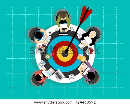 Concepts for business analysis and planning, consulting, team work, project management, financial report. Shooting at target for success - Icon Colorful Circle arrow - modern Idea and Concept