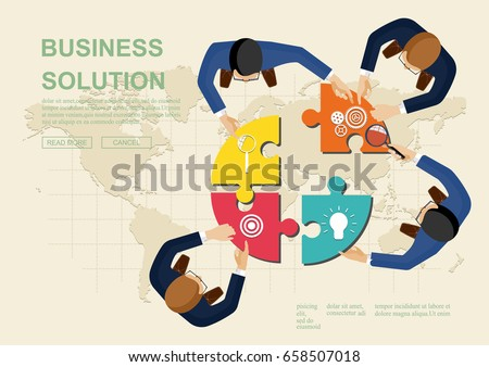 Concepts for business teamwork.solution and innovation analysis and , consulting, project management, financial report and strategy team . vector illustration.